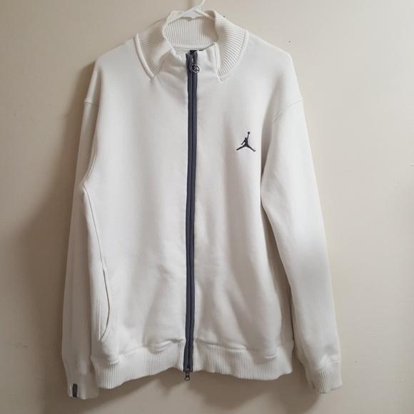 Jordan White Zip Up Sweater Size Large